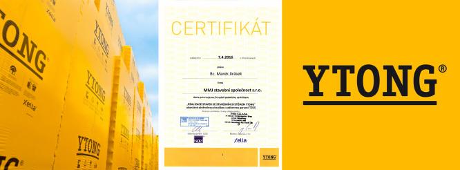 Jsme certifikovaným dodavatelem systém Ytong